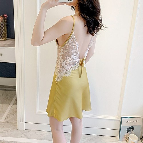 Young Lady Sexy Lace Satin Patchwork Nightgown With Bra Hollow Out Home Dress Yellow V-Neck Backless Spaghetti Strap Nightdress