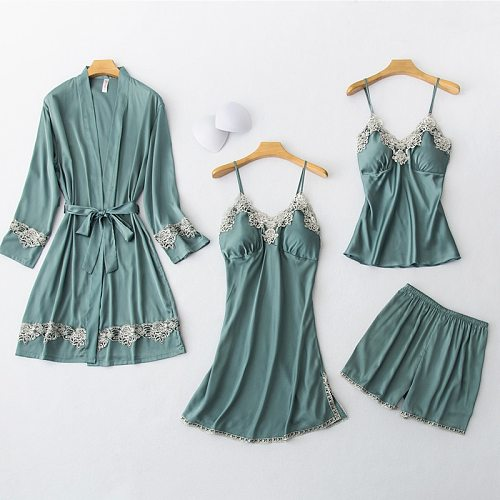 4PCS Pajamas Set Womens Sleep Wear Pijama Spring Sexy Lace Kimono Robe Gown Suit Sleepwear Strap Top Pants Home Clothes Negligee