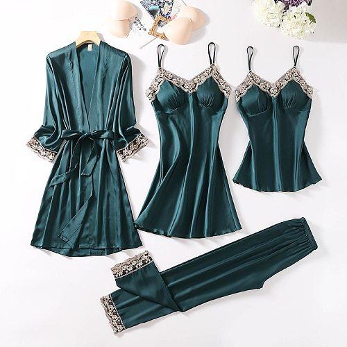 Spring New 4PCS Lce Silk Pajamas Sets Women Sleepwear Sleep Suit Satin Kimono Strap Top&Pants Pijamas With Chest Pads Nightgown