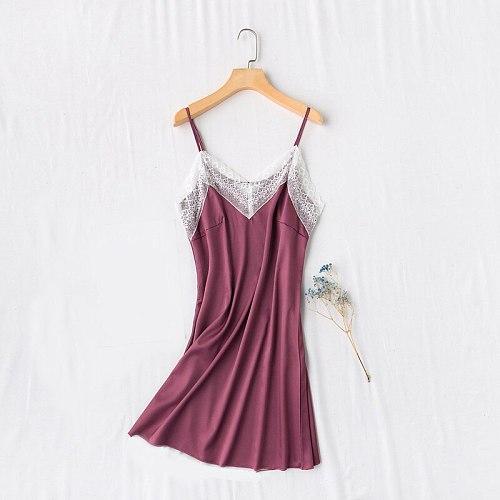 Sexy Sleeveless Lace Gown Womens Lounge Nightdress V-Neck Nightgown Female Suspender Skirt Silky Sleepwear Strap Dress