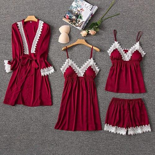 4PCS Lace Pajamas Set Women Sleep Nightwear V-Neck Sleepwear Sexy Nightie Bathrobe Wear Home Suit Negligee Spring Robe Gown