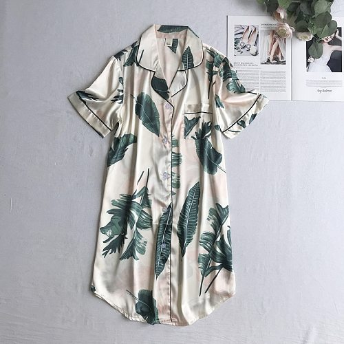 Young Lady Casual Print Sleepshirt M-XXL Summer Home Wear With Pocket Short Sleeve Nightwear Turn-down Collar Button Sleepwear