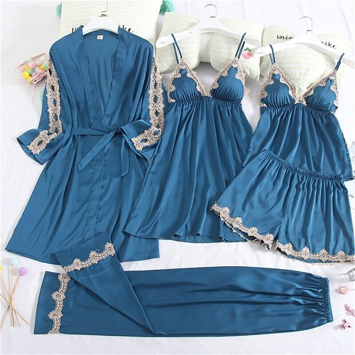 5PCS Lace Robe Gown Sets Sexy Womens Satin Nighty Bathrobe Nightgown Sleep Suit Spring Sleepwear Home Kimono Lounge Pajamas