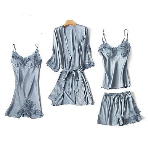Gray Women 4PCS Lace Pajamas Sleep Set Nightwear V-Neck Sleepwear Sexy Nightie Bathrobe Wear Home Suit Negligee Spring Robe Gown