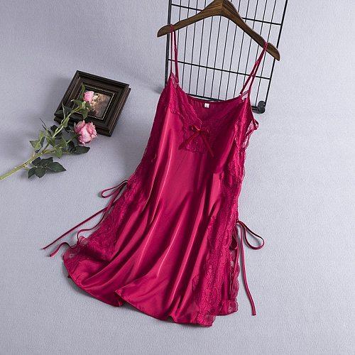 Sexy Gown Nighties Womens Nightgown V-Neck Strap Sleepshirt Summer Sleeveless Lace Dress Sleepwear Short Robe Homewear