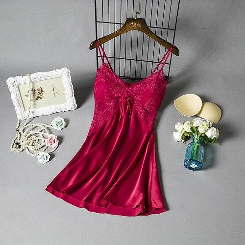 V-Neck Sleeveless Burgundy Women Sleepwear Sexy Lace Nightdress Summer Flower Negligee Robe Gown Sleep Nightgown Homewear
