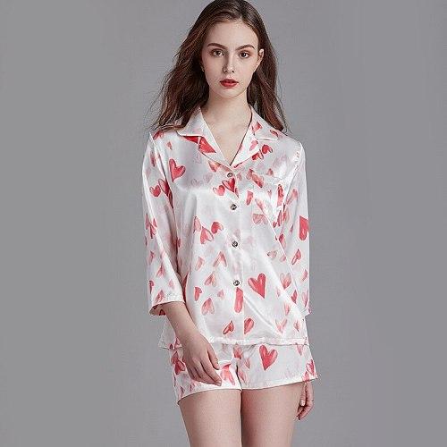 Sleepwear Sleep Set Womens Robe Print Pajamas Suit Summer Nightgown Shirt Pants Lounge Nightshirts Sexy Lady Loose Home Clothing