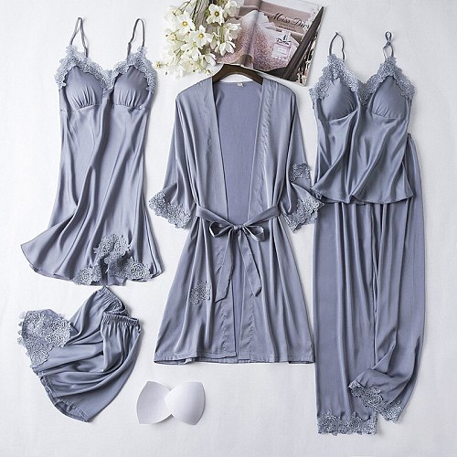 Sexy 5PCS Nighty Bathrobe Gown Sets Women Lace Satin Robe With Chest Pads Nightgown Sleep Suit Spring Kimono Sleepwear Home Wear