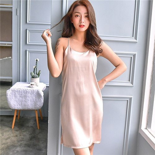 Sexy Backless Nightgown Silky Satin Lady Sleeveless Nightdress Summer Solid Lounge Suspender Nighty Dress Home Wear Nightsuits