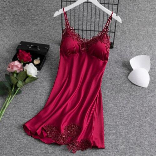 Sexy Sleep Robe Burgundy Women Sleepshirts Bathrobe V-Neck Lace Folwer Nightwear Gown Sleepwear Strap Top Home Clothing
