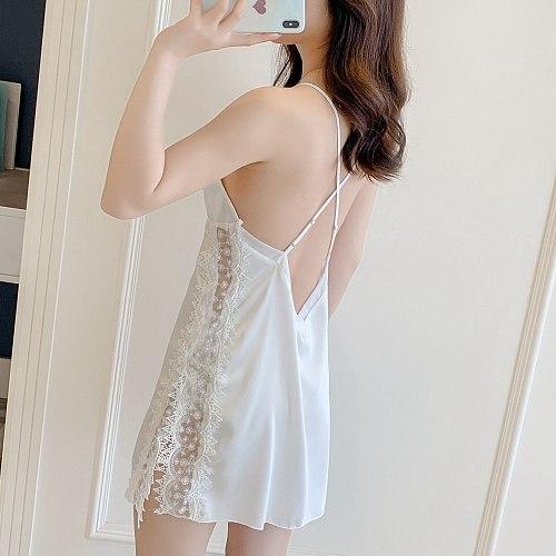 Sexy Sleepwear Gown Womens Lace Nightshirts V-Neck Sleeveless Nightgown Summer Female Nighties Strap Dress Sleep Robes
