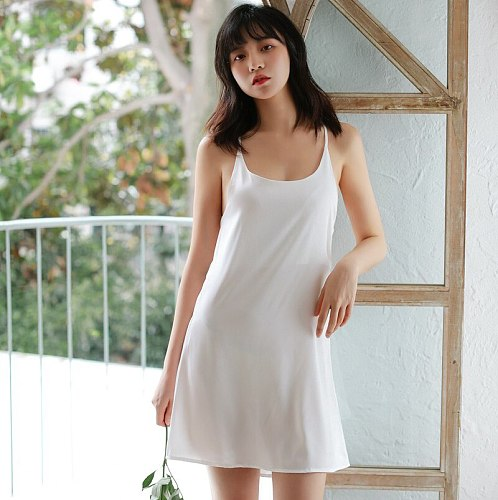 O-Neck Gown Sleeveless Robes Womens Negligee Suspender Nightgown Summer Solid Sleepwear Sleepshirts Lingerie Homewear