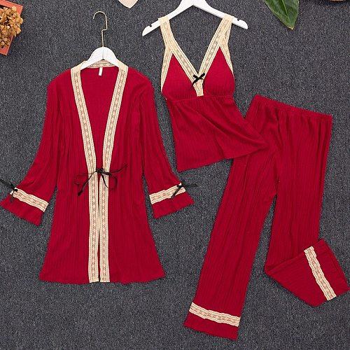 Casual 3 Pcs Pyjamas Sleep Suit Womens Cotton Pajamas Sets Long Sleeve Nightwear Strap Top&Pants Intimate Lingerie Sleepwear