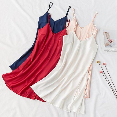 Sexy Silky Women Sleep Robe Strap Top Sleepwear V-Neck Nightdress Lady Home Wear Nightgown Bath Gown Sleepshirts Bathrobe M-XXL