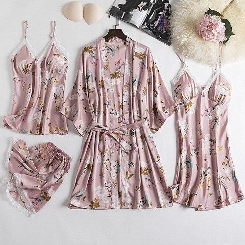 4PCS Women Sleepwear Sleep Suit Lace Print Pajamas Sets Spring Silky Satin Kimono Strap Top&Short Pijamas Chest Pads Nightgown