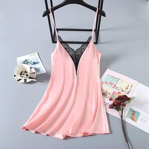 Sexy Cami Backless Nightgown V-Neck Sleeveless Nightdress Casual Womens Summer Intimate Lingerie Sleepwear Nighty Dress