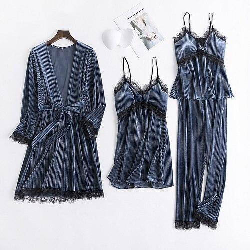 Women Velour 4PCS Pajamas Set Nightwear Casual Sleepwear Sexy Thick Home Clothing Velvet Autumn Winter Intimate Lingerie