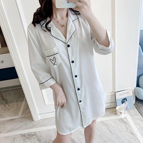 Shirt Pajamas Sleep Robe White Women Sleepshirts Summer Bathrobe V-Neck Nightshirts Gown Sleepwear Lounge Homewear With Pocket
