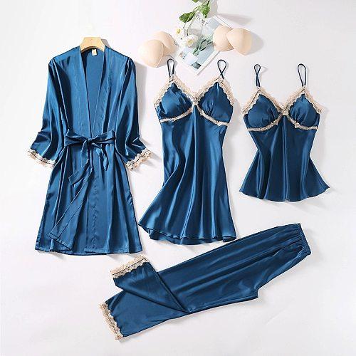 4PCS Satin Lace Sleepwear Sleep Suit Sexy Womens Chest Pads Pajamas Sets Spring New Silky Nightgown Lounge Home Wear Pyjamas