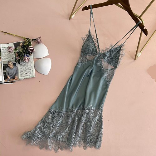 Sexy Lace Strap Nightgown Summer Backless Nightdress Womens Hollow Out Nighty Gown Bride Sleeveless Sleepshirt Sleep Dress