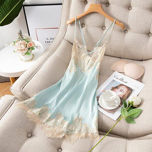 Sexy Lace Backless Nightgown Female Strap Nightdress Summer Sleeveless Nighty Dress Lady Satin Sleep Gown Home Wear Sleepwear