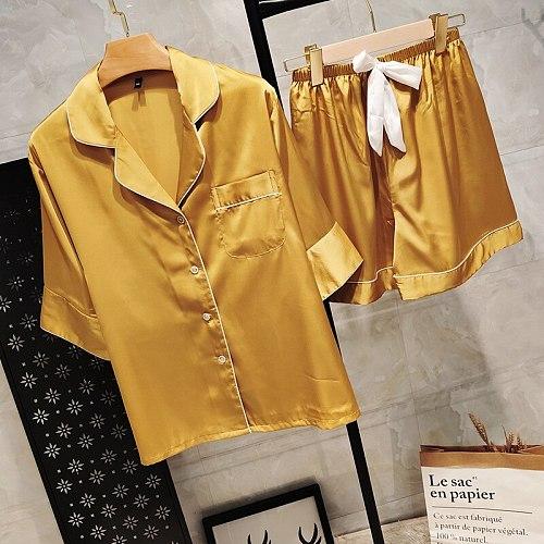 2pcs Short Slevee Pajamas Sets Summer Womens Sleepwear Sleep Suit Lce Silk Nightgown Pyjamas Casual Solid Home Wear Lingerie