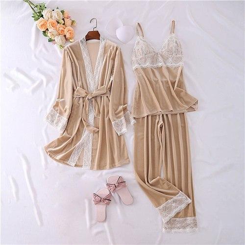 3PCS Pyjamas Sleep Suit Velour Spring Sleepwear Womens Home Wear Pajamas Sets Casual Lingerie Strap Top&Pants Lounge Nightwear