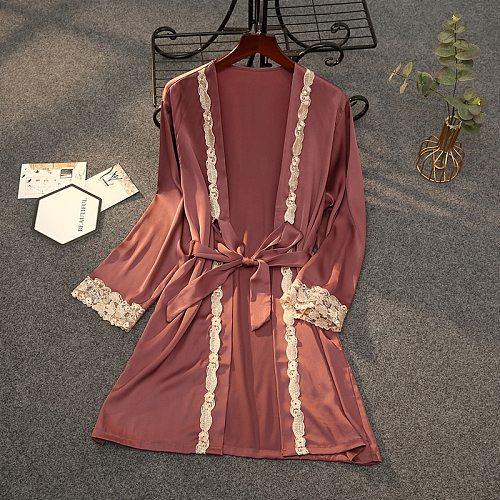 Silky Women V-Neck Robe Gold Lace Satin Bride Wedding Bathrobe Bridesmaid Sleep Sleepwear Casual Female Home Wear Gown Nightgown