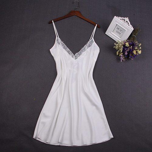 Sexy White Women Nightwear Lace Nightdress Nighty Mini Nightgown Suspender Skirt Sleepwear Rayon Sleeveless For Female M-XXL