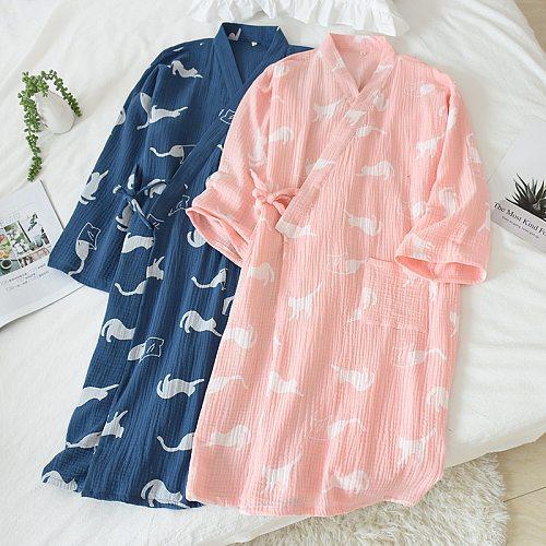 Japanese kimono couple nightgown cotton double layer crepe cloth moisture wicking yukata men pajamas home service women bathrobe