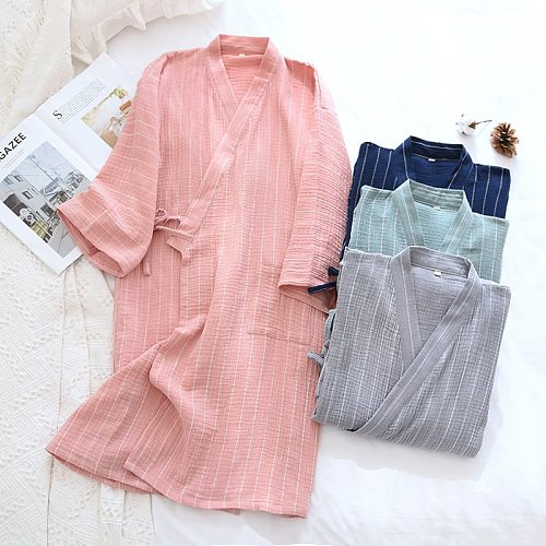Japanese kimono bathrobe spring and summer couples 100%cotton nightgown for men and women home long-sleeved sweat-absorbent robe