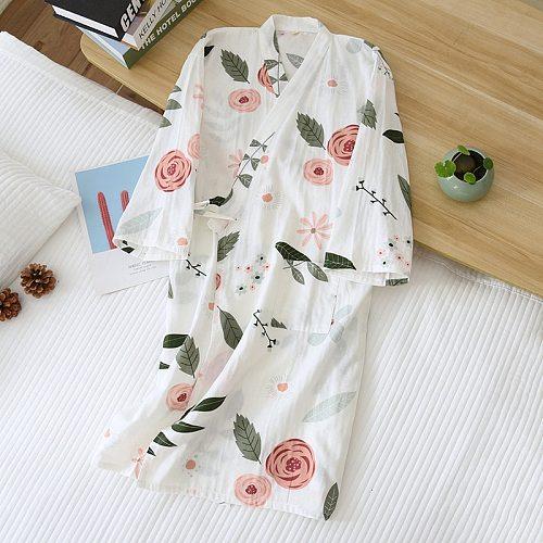 Japanese kimono night gown ladies spring and summer bathrobe women's 100% cotton tether nightdress elegant flowers home service