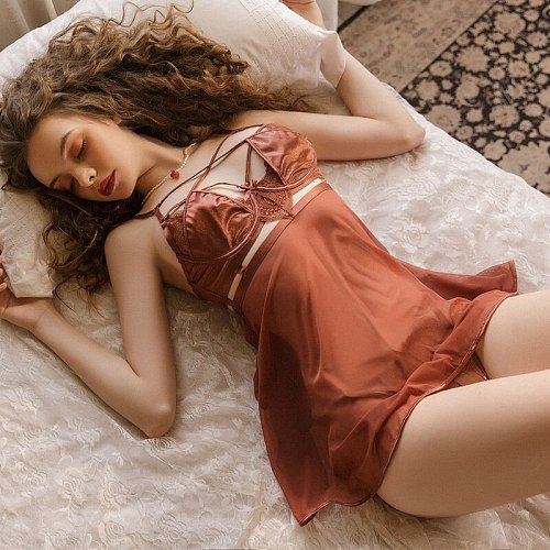 Sexy women Sleepwear Hollowed Out Nightdress Casual Nightgown Comfortable Lace Homewear Solid Color Nightwear with Thongs