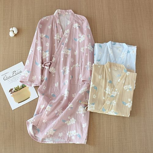 Japanese kimono bathrobe ladies spring and autumn new cotton gauze robe cherry blossom plus size steamed bathrobe home service