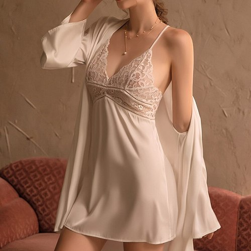 3 Pieces Women Pajamas Sets Faux Silk Pajamas Sleepwear Sets Embroidery Lace Bath Gown Wedding Night Dress Robe With Belt