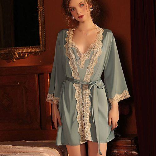Sexy Lace Trim Wedding Lady Robe Suit Satin Bride Bridesmaid Kimono Bathrobe Gown Mini Sleepwear Rayon Intimate Lingerie