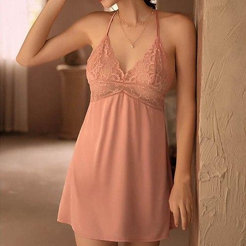 Sexy Night Dress Perspective Lace Nightgow Women's New Lingerie backless Lace V-neck nightwear silk Nightdress Homewear