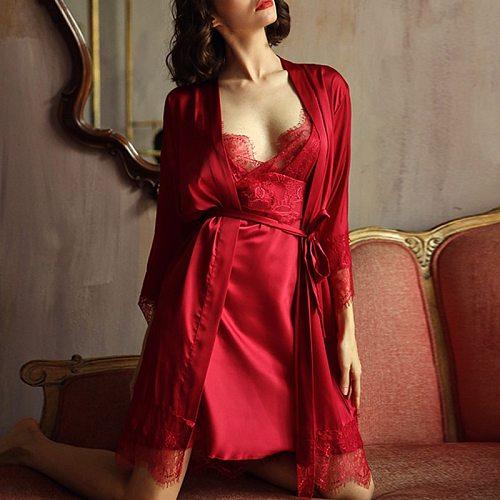 2Pcs New Women Sexy Pajamas Gown + Nightskirt Lace Satin Ladies Nightwear V-neck Sleepwear Comfortable Smooth Homewear