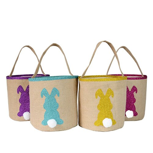 5pcs Easter Baskets for kids Easter party bunny ear Egg Hunting tote bag with handles