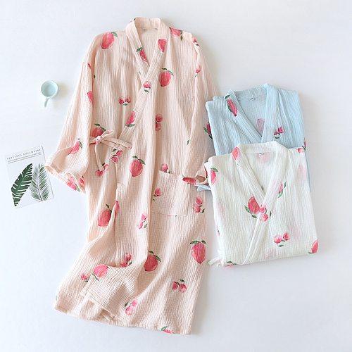 Japanese kimono spring and autumn night gown ladies cotton crepe cloth bathrobe home wear sweat steaming yukata plus size summer
