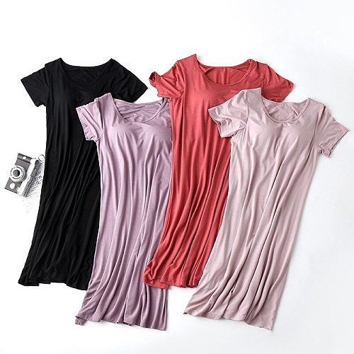 2020 new ladies' long nightdress, half-sleeved skirt with chest pad, mid-length plus size home nightdress