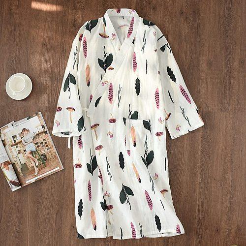 Japanese-style kimono pajamas summer new 100% cotton gauze pajamas nightgown ladies SPA yukata homewear long pajamas women