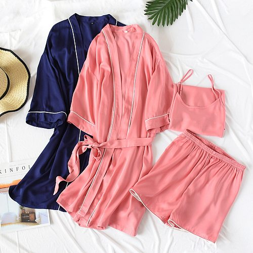 2020 new summer couple silk cotton thin three-piece suit ladies sexy mulberry silk strap nightgown shorts men loose pajamas