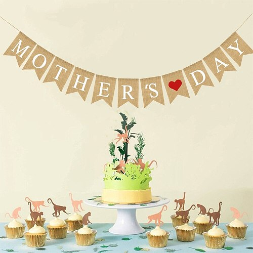 MOTHER'S DAY Letters Bunting Banner Red Heart Burlap Banner Linen Swallowtail Decorative Flag Party Supplies