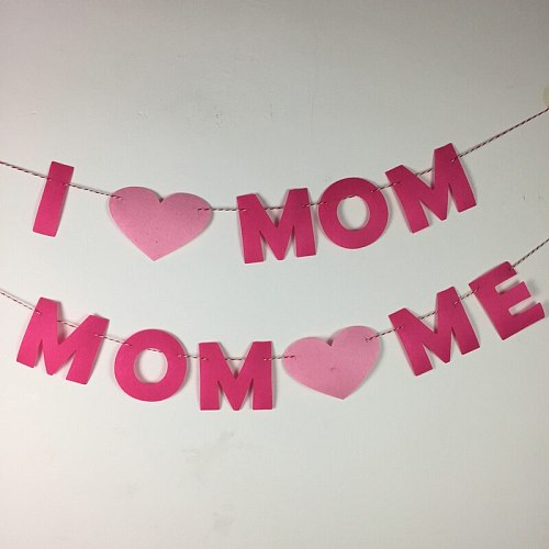 Happy Mother's Day Party Decoration I Love Mom Letter Pink Felt Home Supplies Mother Birthday Room Deco