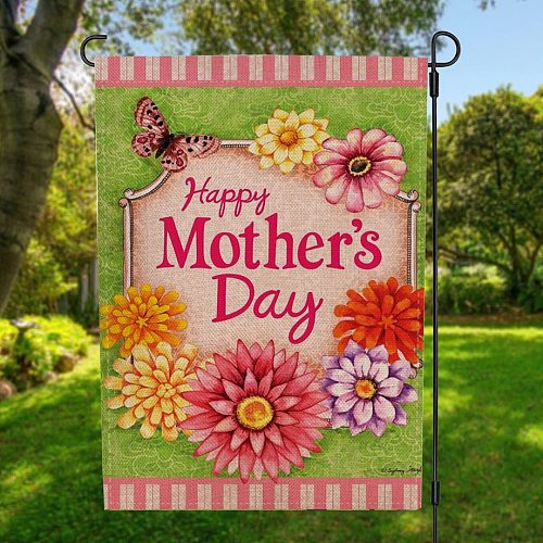 Two-sided Flowers Happy Mother's Day Garden Flag Banner Home Decor with Windproof Rubber Stopper and Clip 12.5''x18.5'' 32x47cm