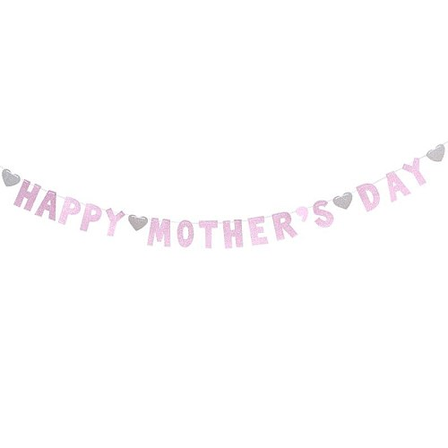 3 Meters HAPPY MOTHERS DAY Banners Glitter Streamer Mothers Day Bunting Garland Decoration Mothers Day Favors (Pink)