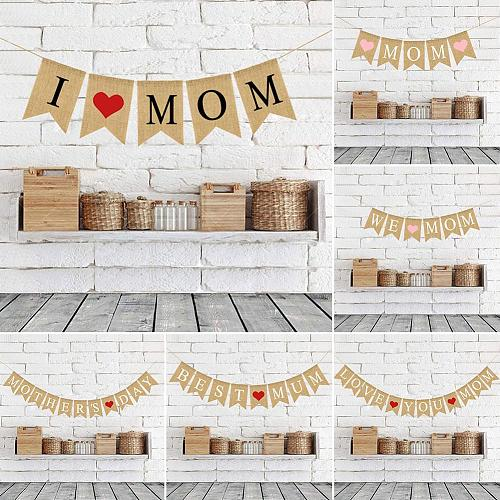 Mother Day Banner Burlap Flags Red Heart Hanging Garland Photo Prop Festival Party Decor