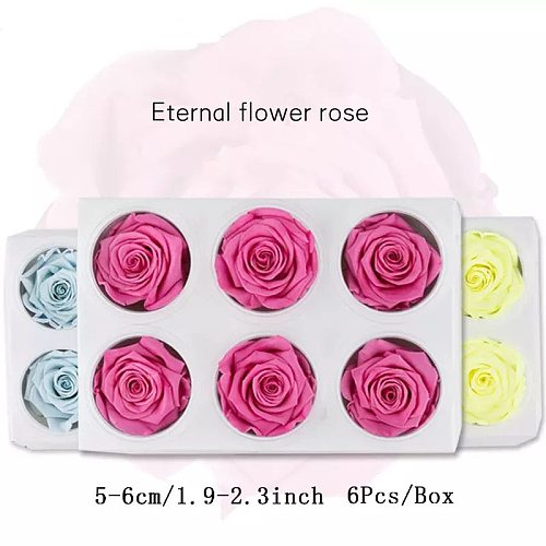 6Pcs/BOX High Quality Preserved Flower Rose Heads Immortal 5-6CM Diameter Mothers Day Gift Eternal Life Flower Material Gift Box