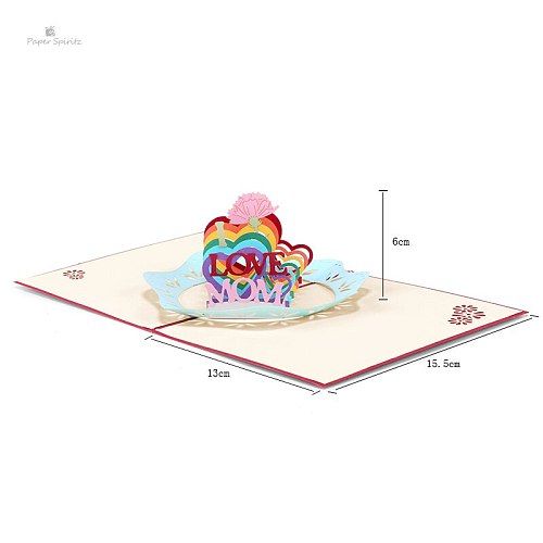 Happy Mother's Day 3D postcards Creative MOM gifts greeting cards with envelope Festival flowers laser cut hollow